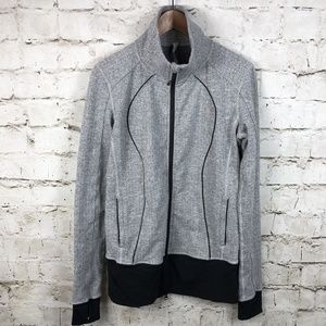 Lululemon Asana Jacket Heather White Harringbone